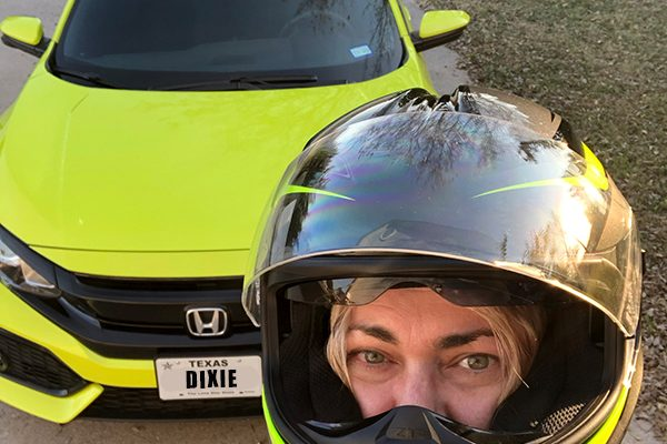 Neon chartreuse car and matching helmet!